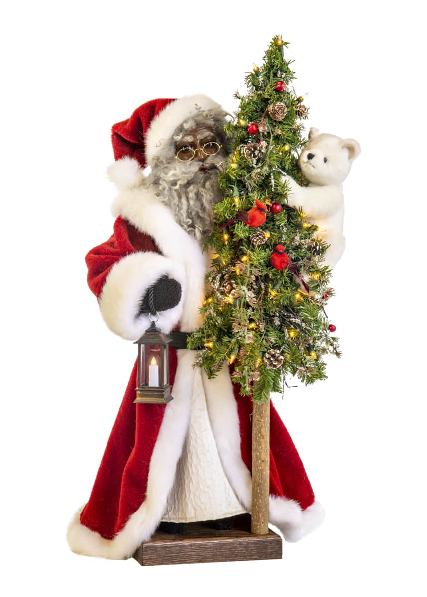 Ditz Designs By The Hen House Fireside Christmas Black Santa with Lighted Tree, 29""
