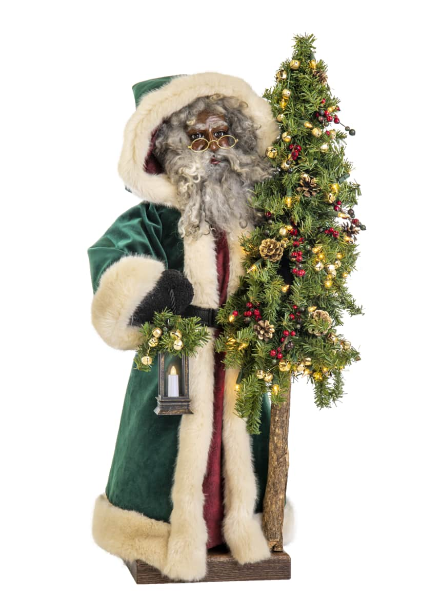 Ditz Designs By The Hen House Malachite Christmas Black Santa, 29""