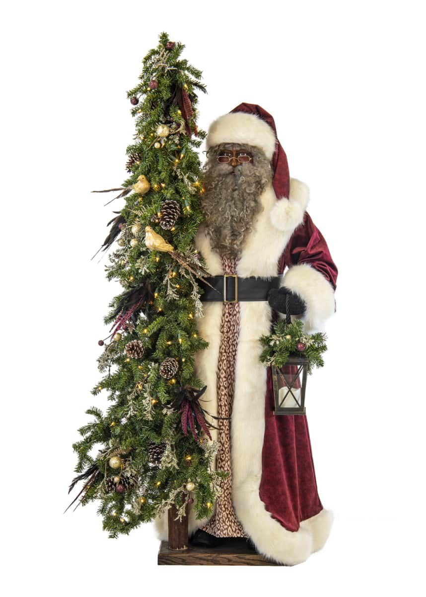 Ditz Designs By The Hen House Plum Wine Holiday Black Santa with Lighted Christmas Tree, 57""