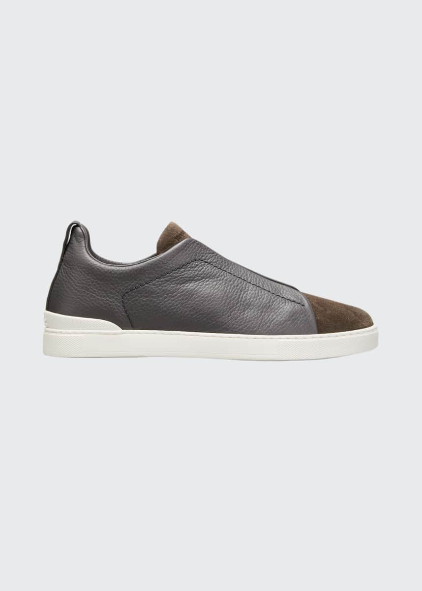 Ermenegildo Zegna Men's Triple-Stitch Mix-Leather Slip-On Sneakers
