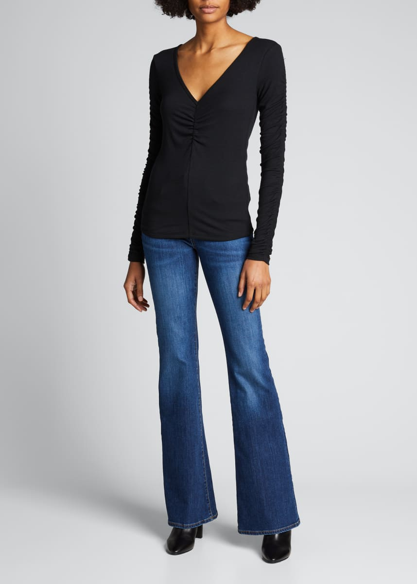 Veronica Beard Jeans Sera Ruched Long-Sleeve Tee