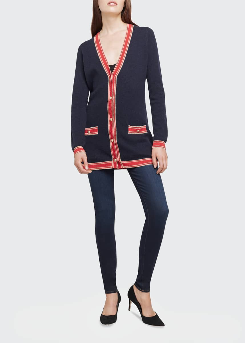 L'Agence Ariel Striped-Trim Cardigan