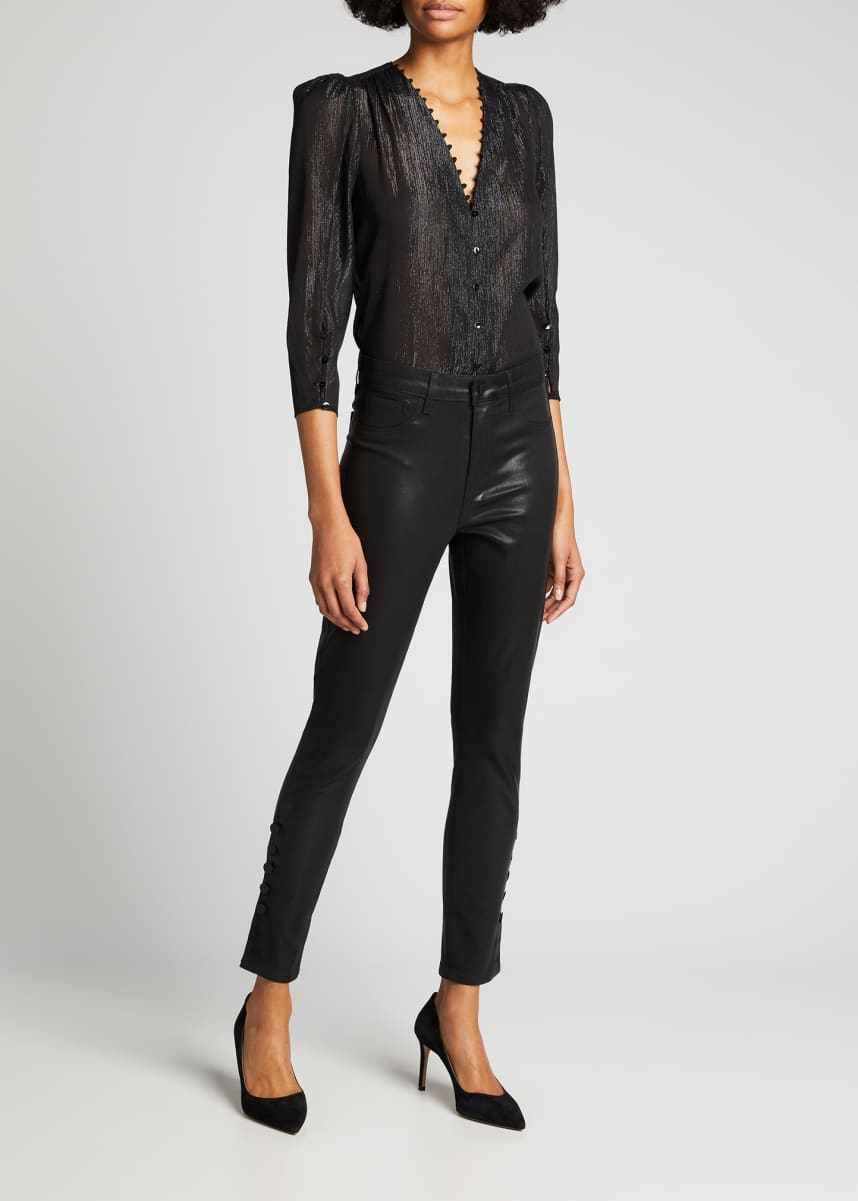 L'Agence Piper High-Rise Coated Skinny Jeans