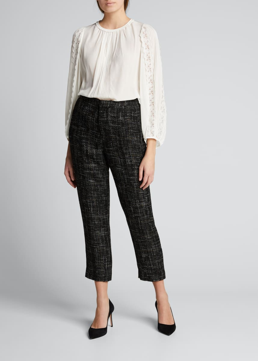 L'Agence Logan Tweed Cropped Trousers