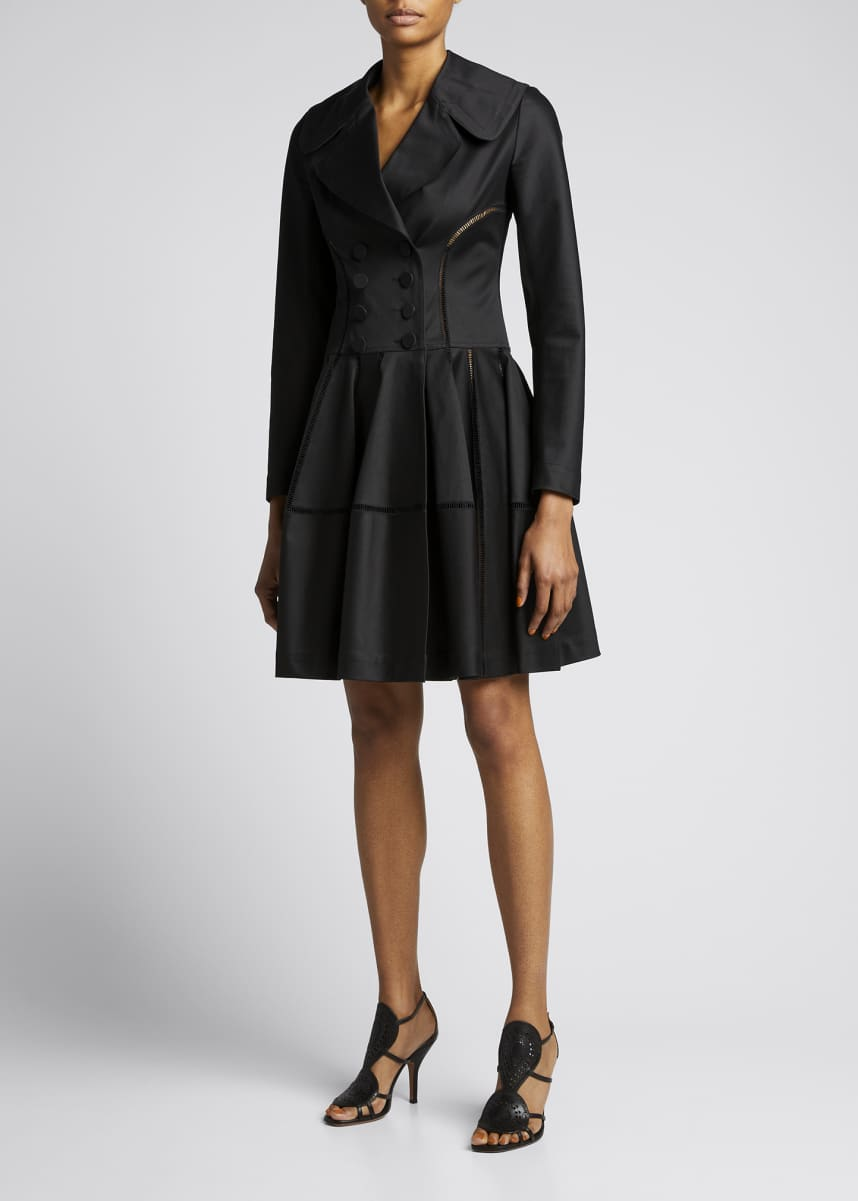 ALAIA Double-Breasted Satin Ruffle Coat