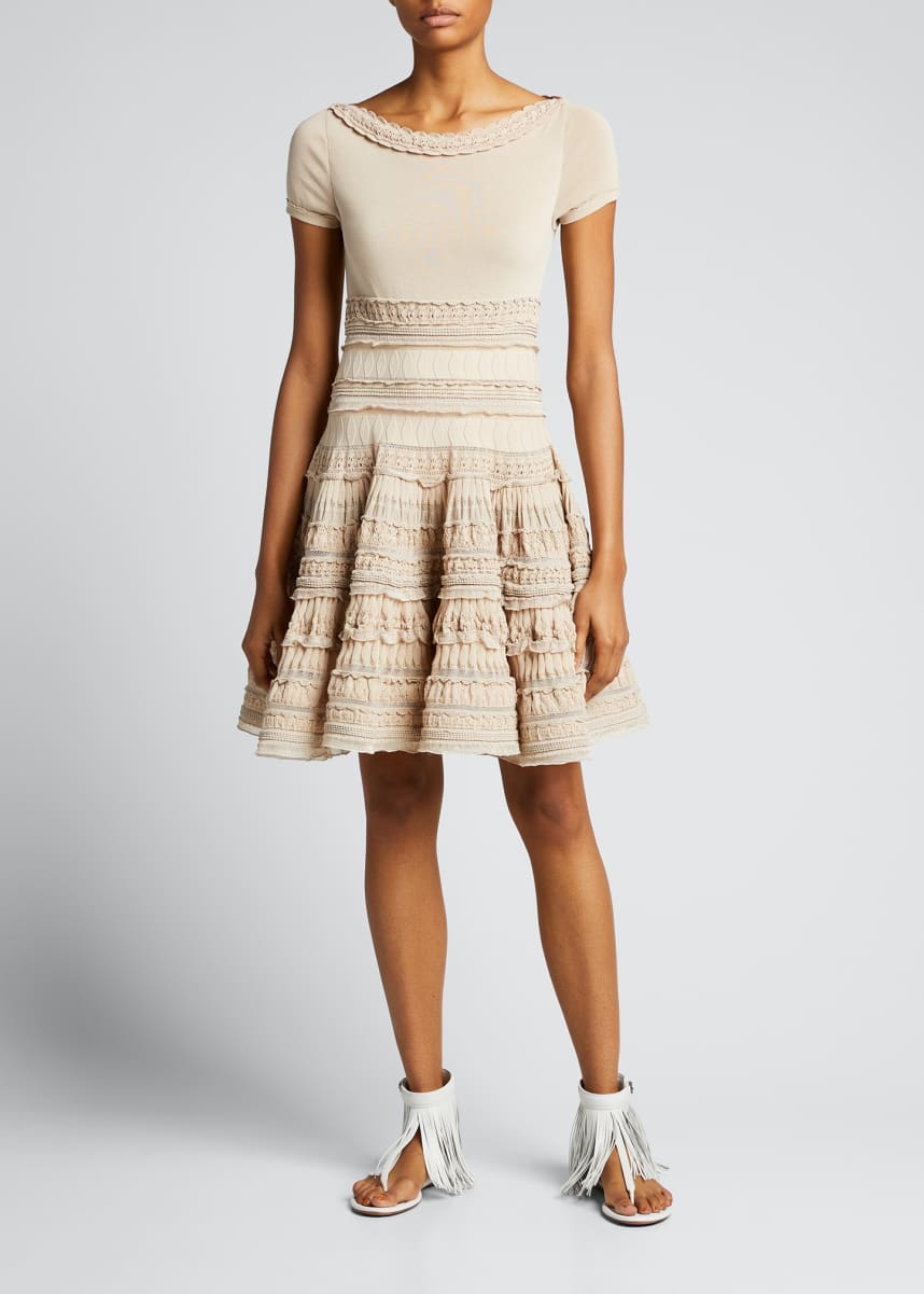 ALAIA Ruffle Lace Fit-&-Flare Dress