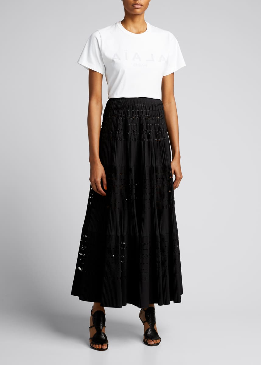 ALAIA Plisse Pleated Long Skirt