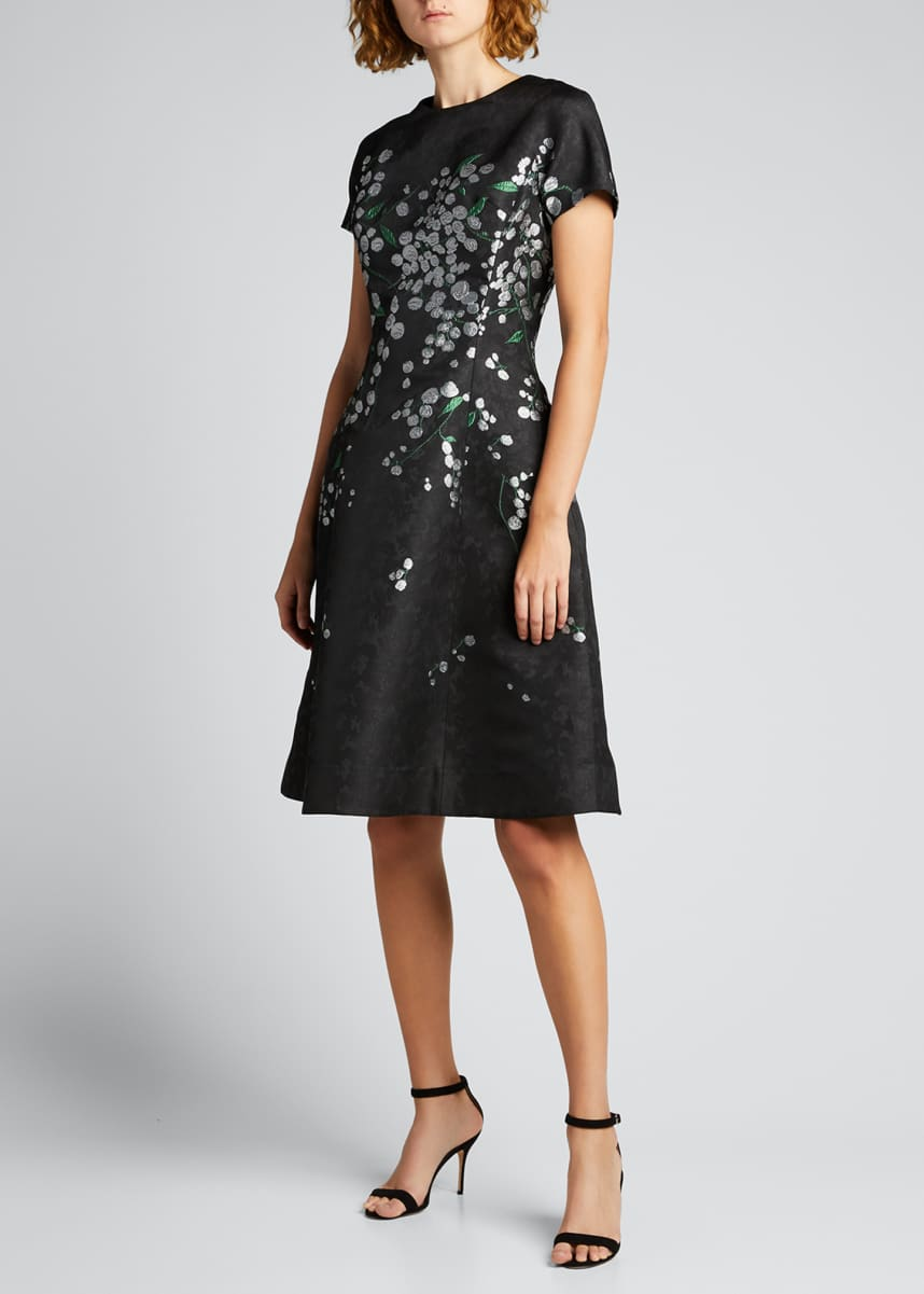 Rickie Freeman for Teri Jon Cap-Sleeve Floral Jacquard Dress