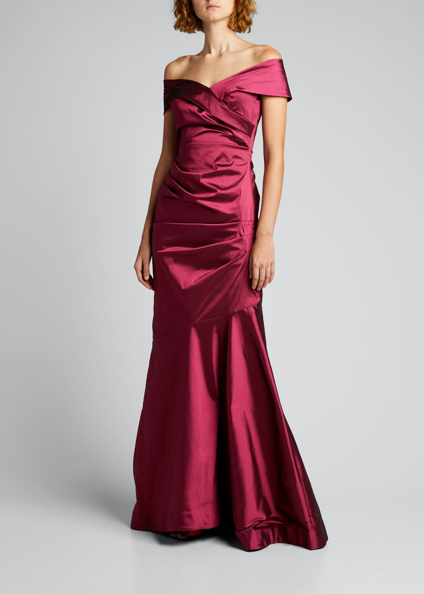 Rickie Freeman for Teri Jon Off-the-Shoulder Draped Stretch Taffeta Gown