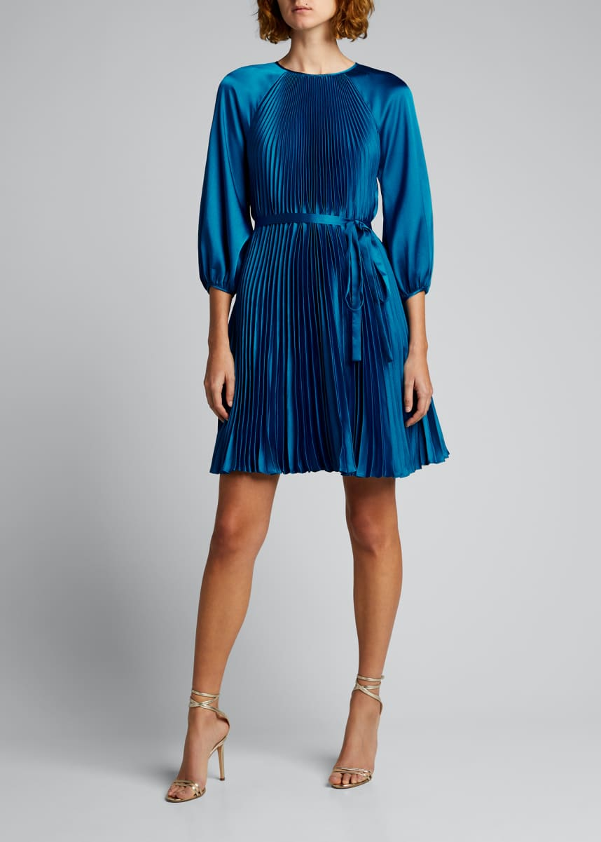 Rickie Freeman for Teri Jon Blouson-Sleeve Pleated Satin Dress
