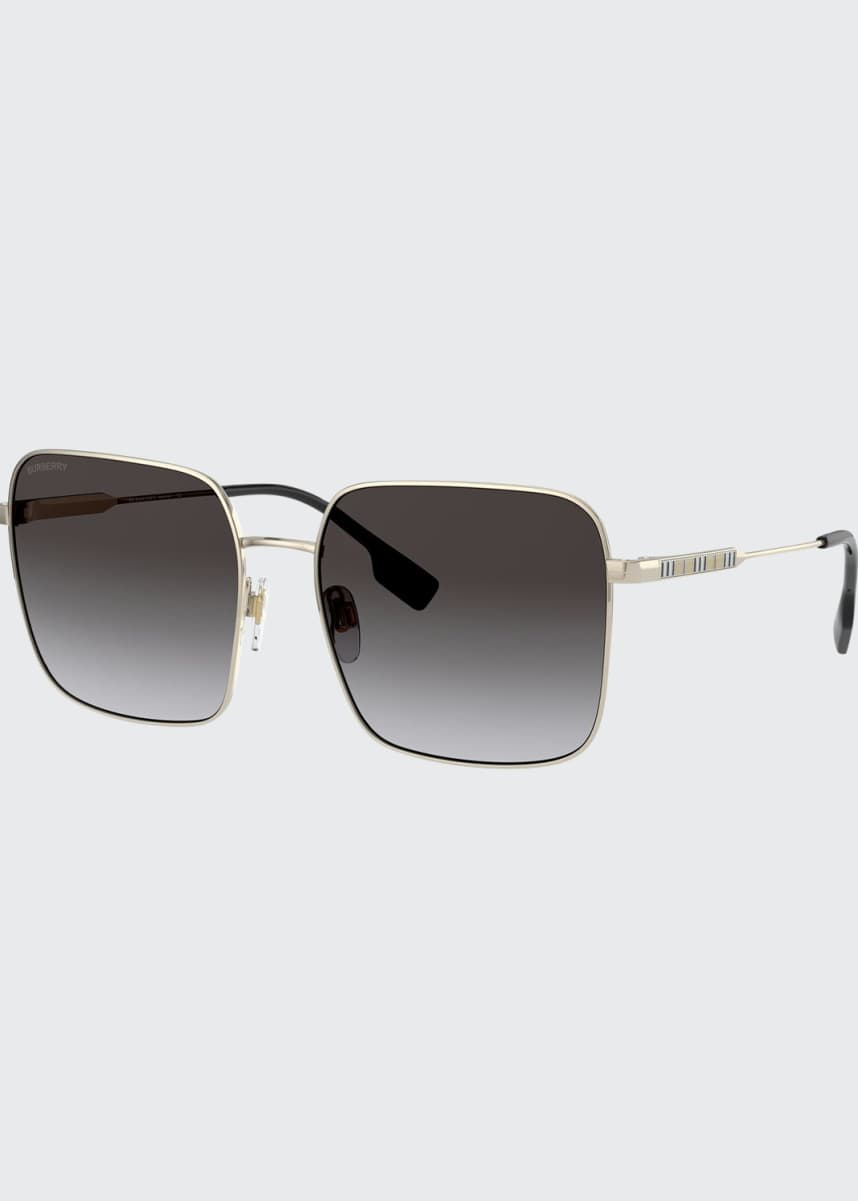 Burberry Oversized Square Steel Sunglasses, Gold/Gray