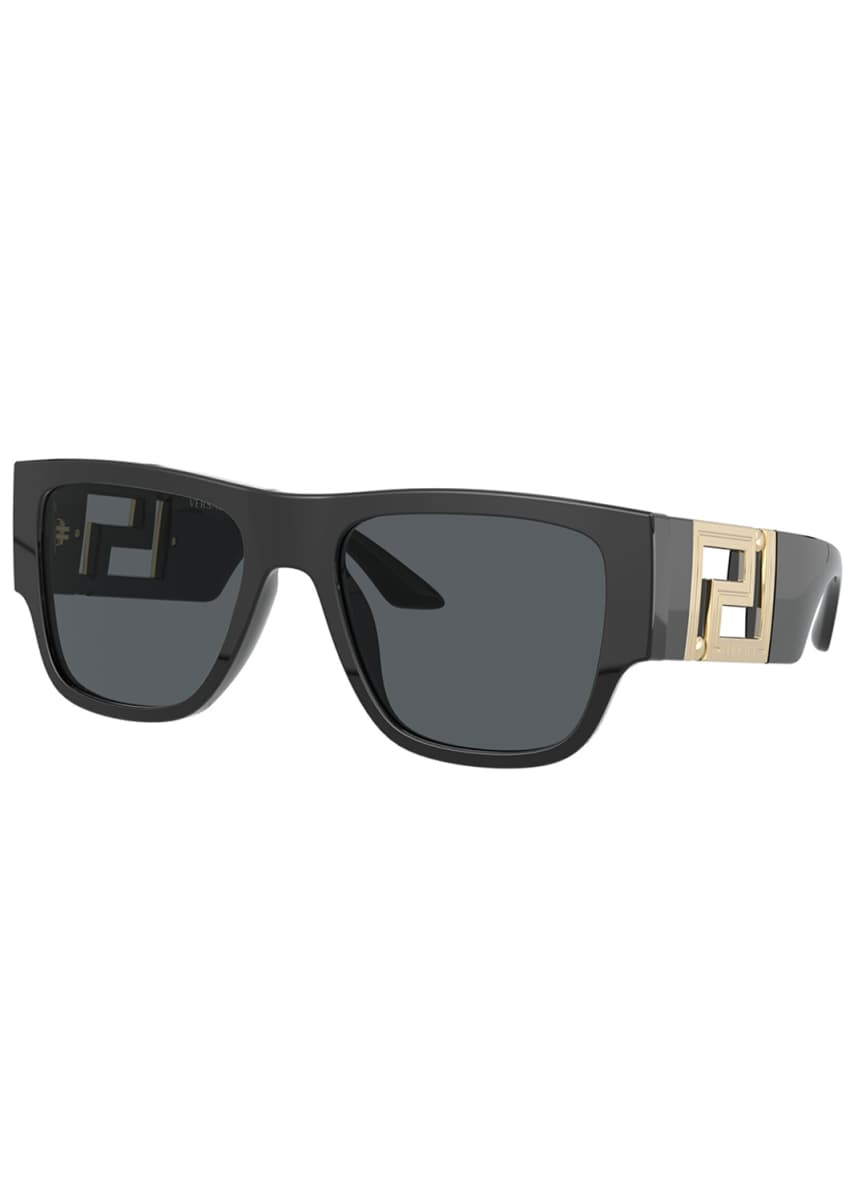 Versace Men's Greca Oversized Square Acetate Sunglasses