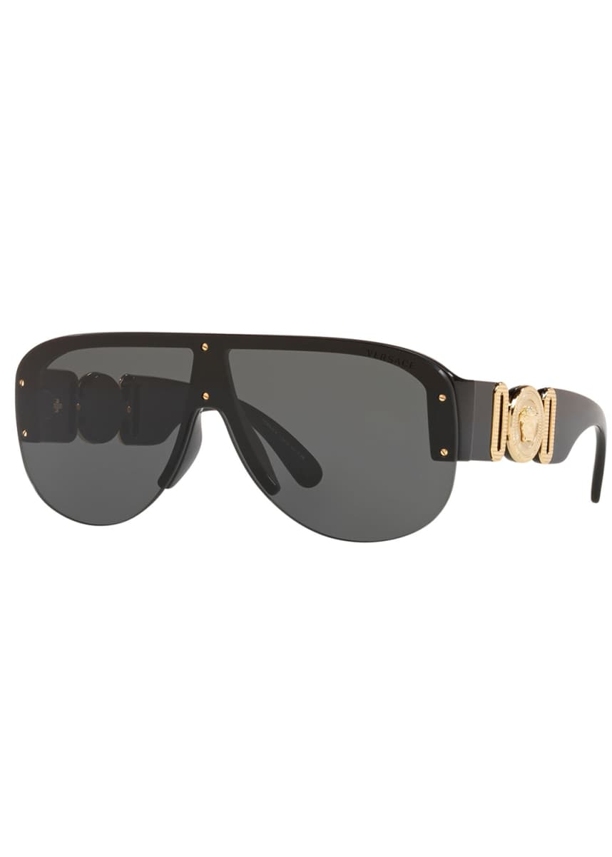 Versace Men's Semi-Rimless Acetate Shield Sunglasses