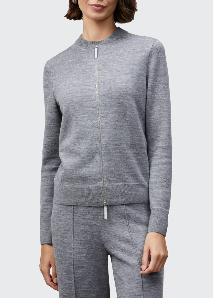 Lafayette 148 New York Zip-Front Double-Knit Cardigan