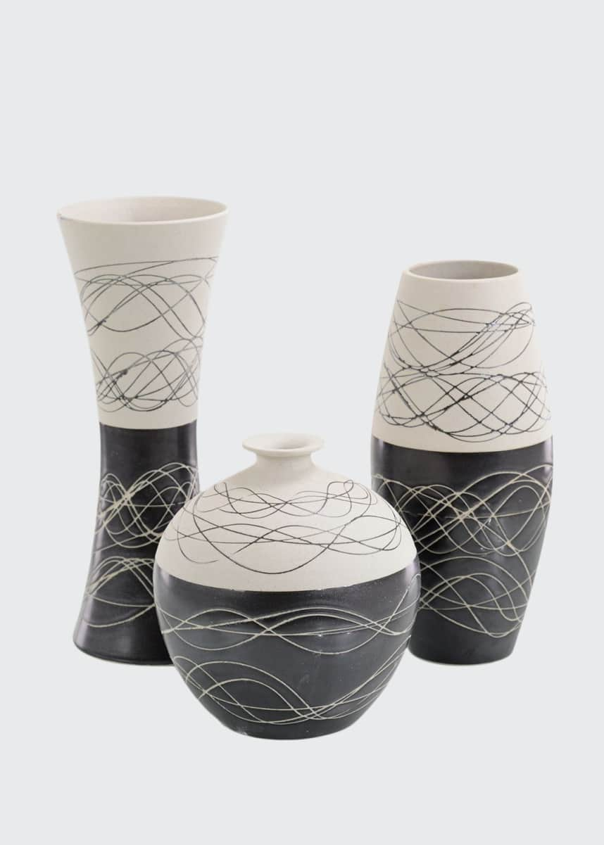 John-Richard Collection Night-and-Day Porcelain Vases, Set of 3