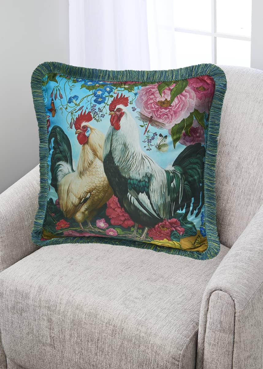 Yana Movchan Two Brothers Fringe Silk Pillow