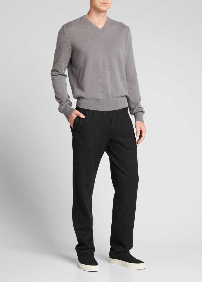 THE ROW Men's Mack Solid Cashmere V-Neck Sweater