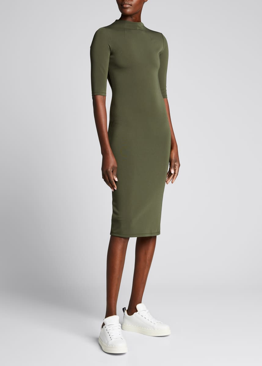 Alice + Olivia Delora Fitted Mock-Neck Dress