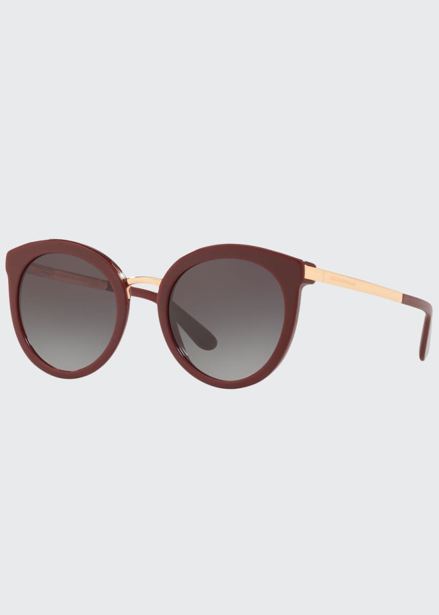Dolce & Gabbana Round Acetate/Metal Asian-Fit Sunglasses