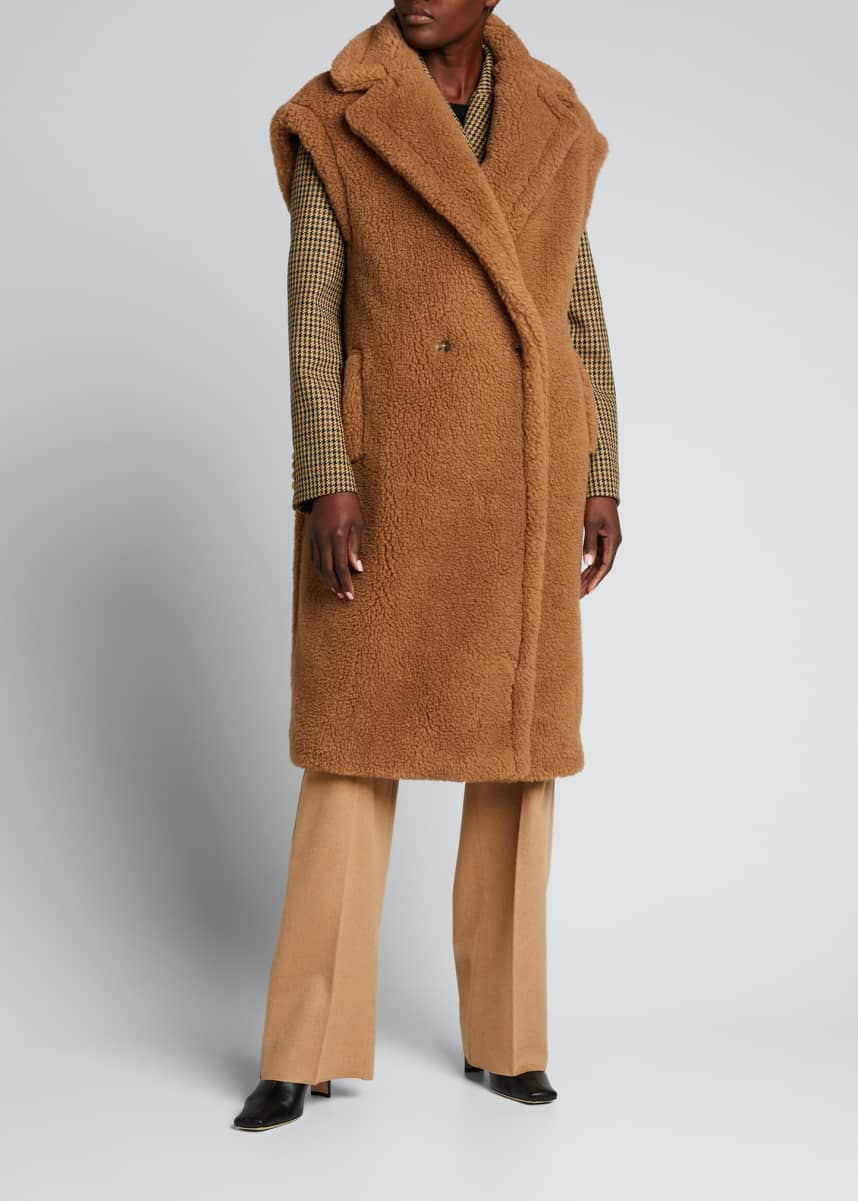 Maxmara Teddy Cap-Sleeve Long Vest