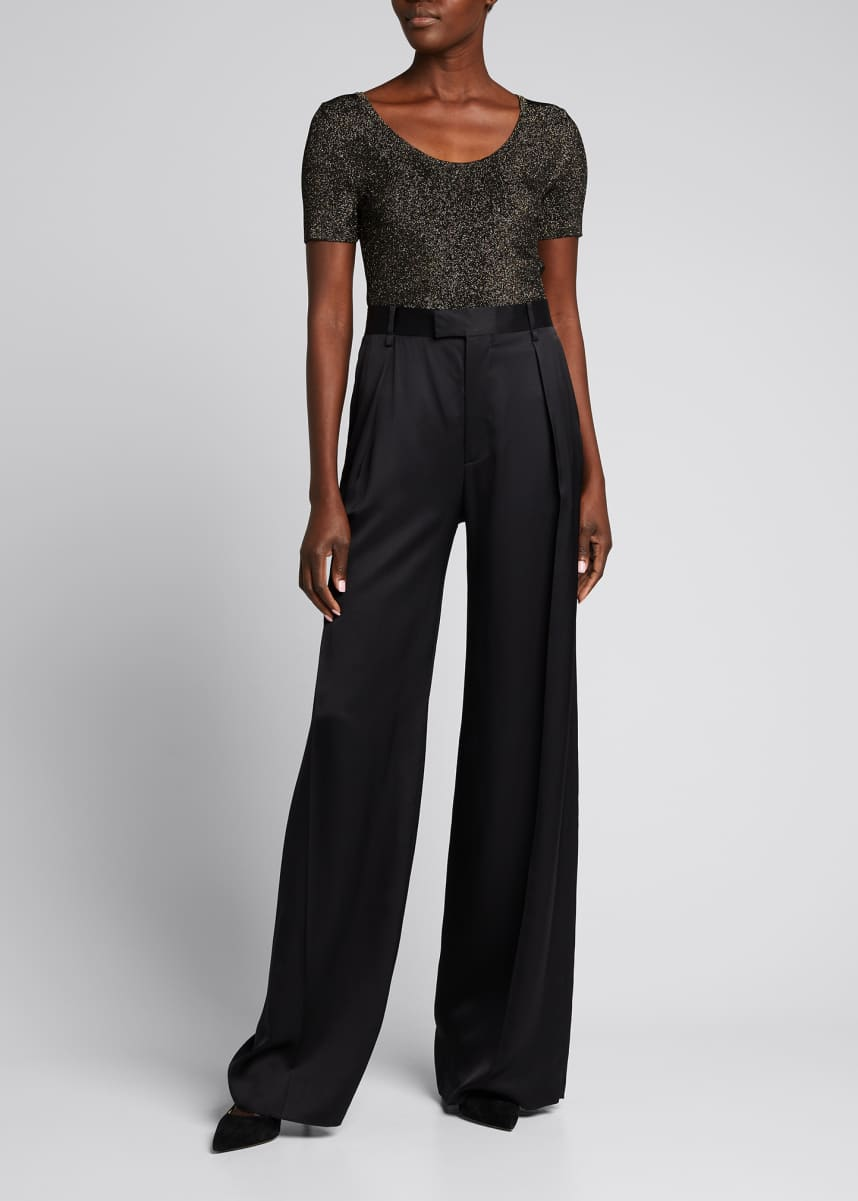 Maxmara Harem Scoop-Neck Metallic Top