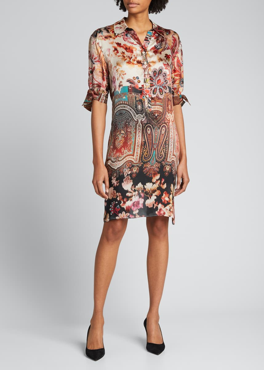 Rickie Freeman for Teri Jon Elbow-Sleeve Printed Shift Dress
