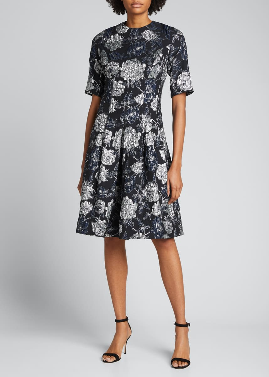 Rickie Freeman for Teri Jon Elbow-Sleeve Floral Brocade Cocktail Dress