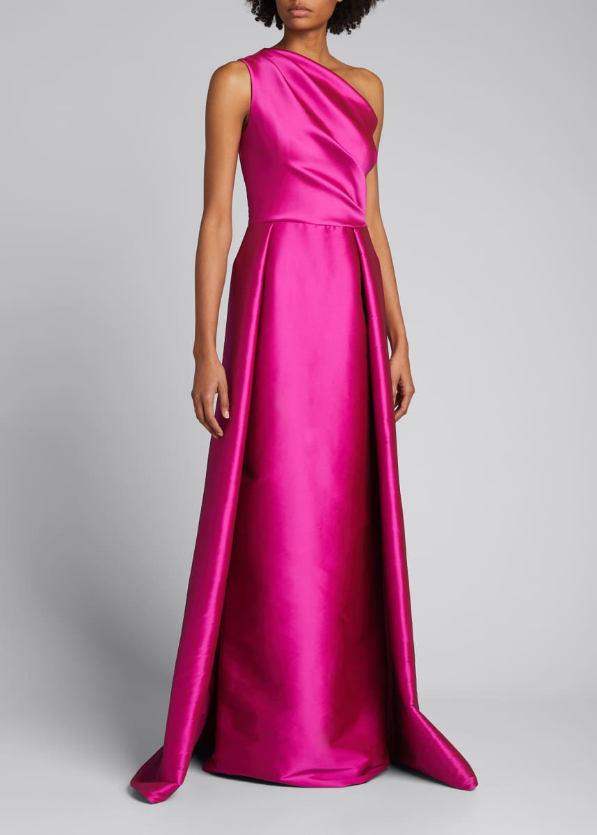 Rickie Freeman for Teri Jon One-Shoulder Stretch Gazar Gown