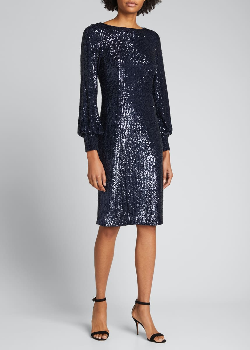 Rickie Freeman for Teri Jon Blouson-Sleeve Sequin Sheath Dress