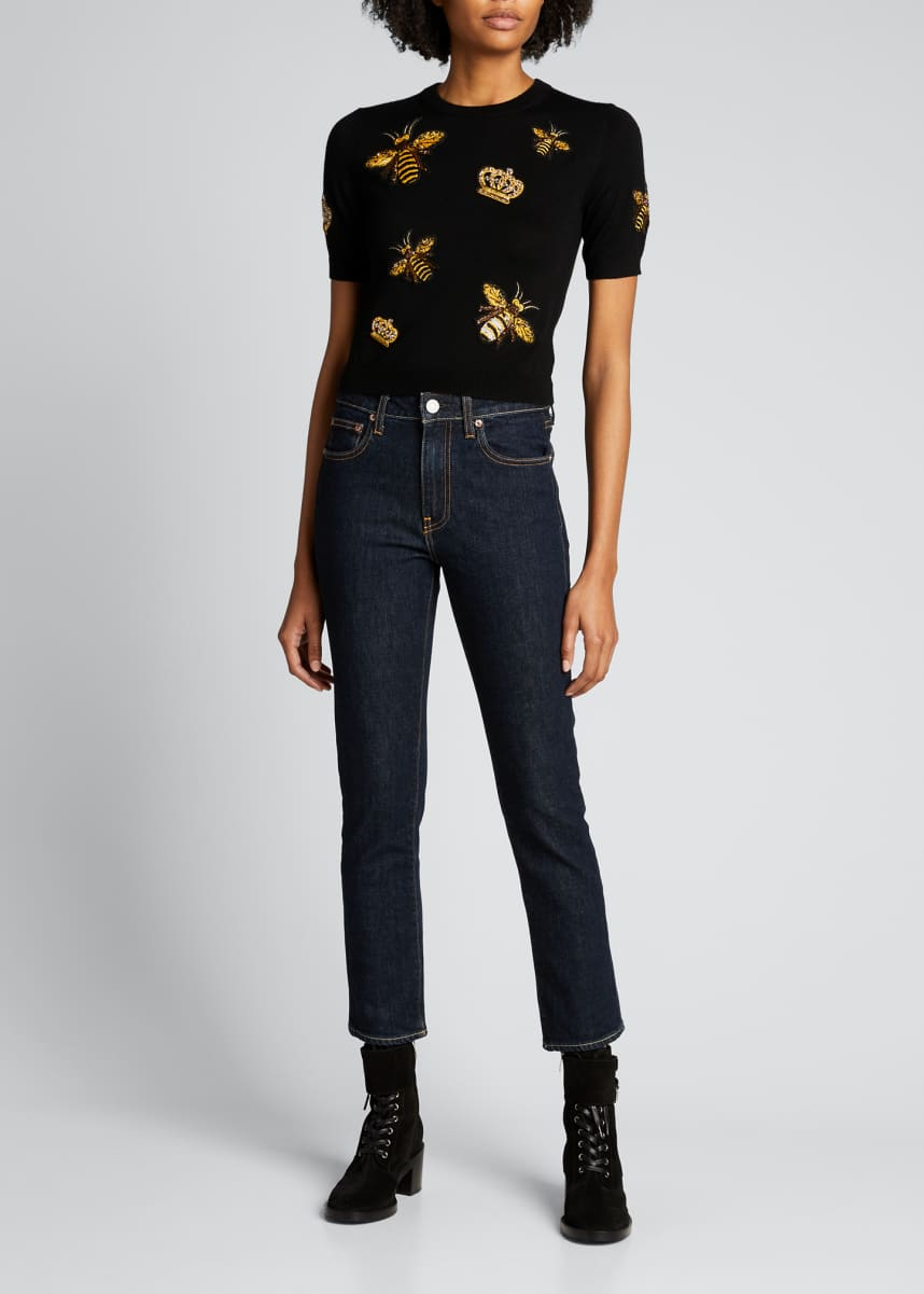 Alice + Olivia Ciara Bee Embellished Pullover