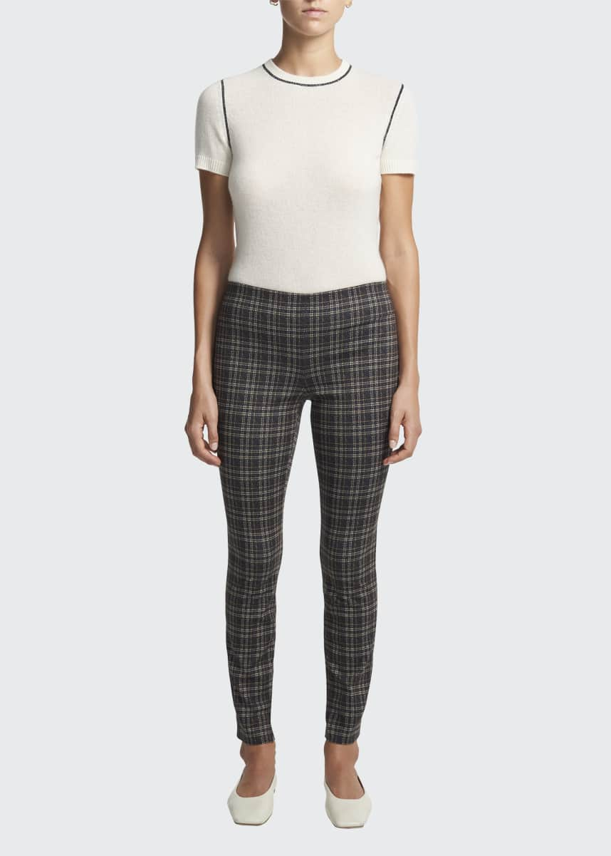 Theory High-Rise Check Leggings