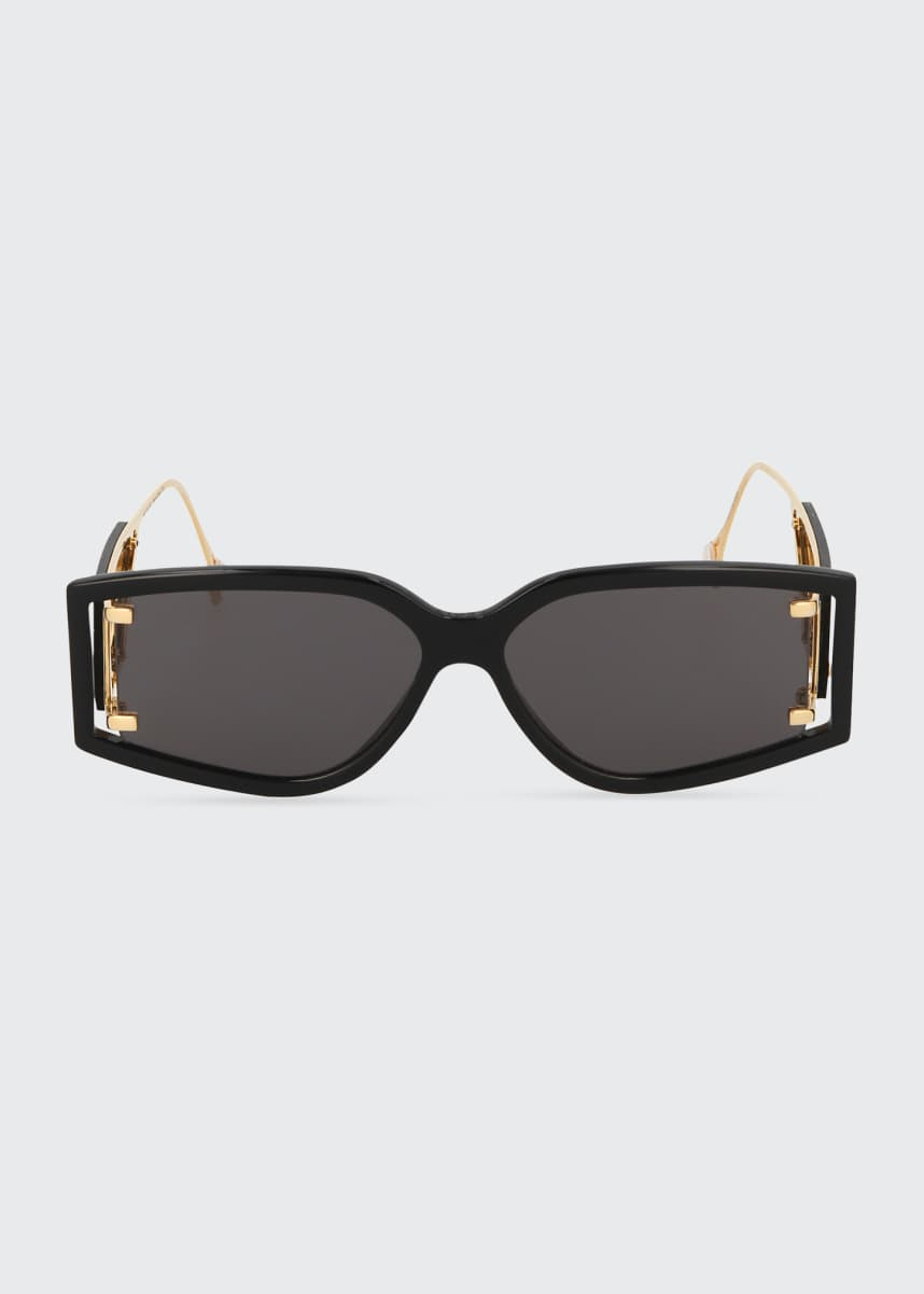 Fenty Classified Rectangular Acetate/Metal Sunglasses