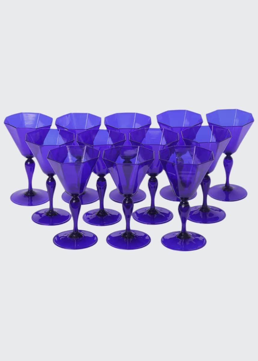Devonia Antiques Set of 12 Vintage Italian Venetian Glass Goblets