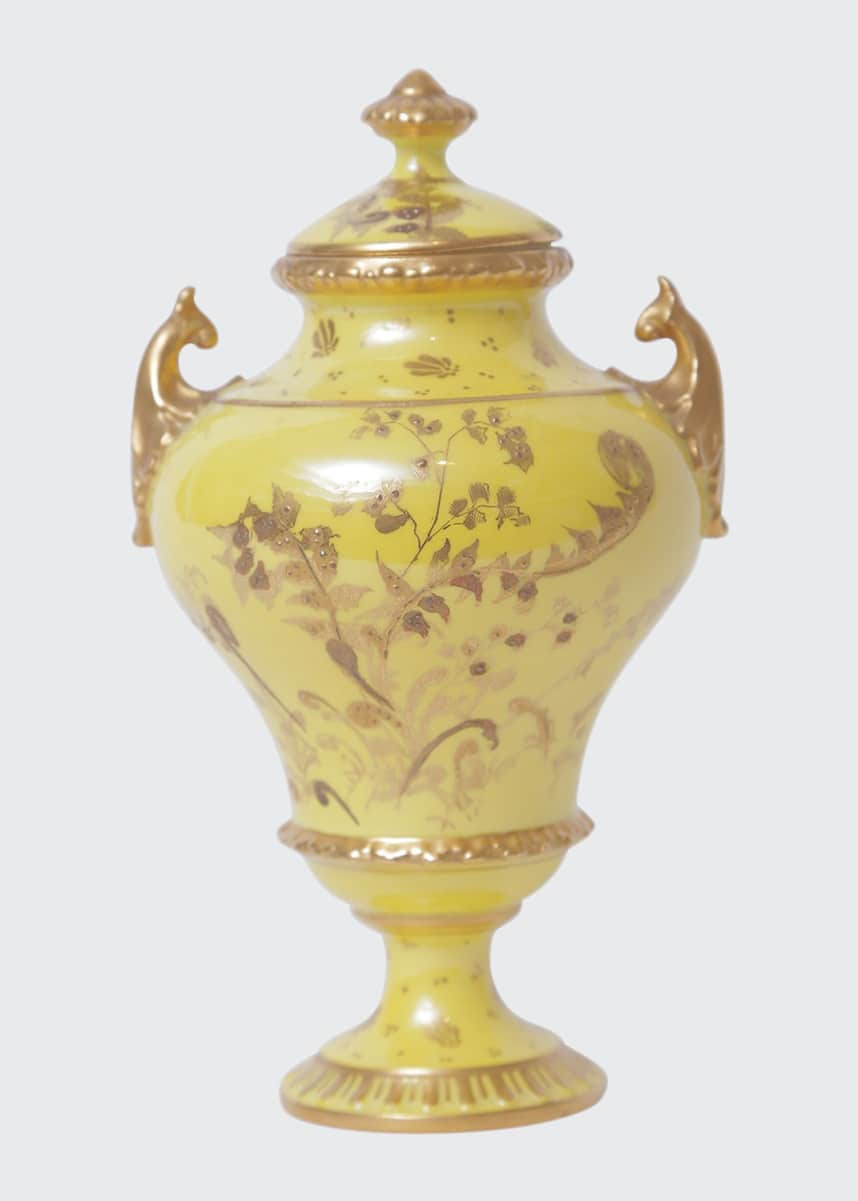 Devonia Antiques Antique English Yellow Ground Heavily Gilded Vase with Cover