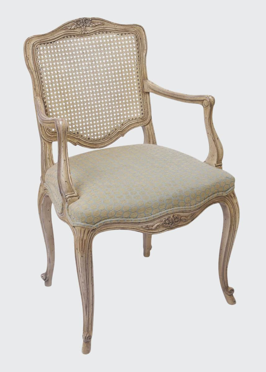 Devonia Antiques Pair of Vintage Cane Upholstered Chairs