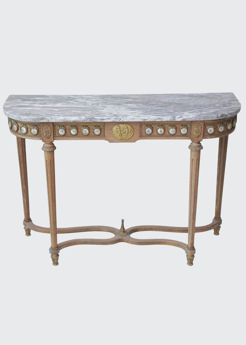 Devonia Antiques Antique French Console Table with Marble Top & Porcelain Medallions