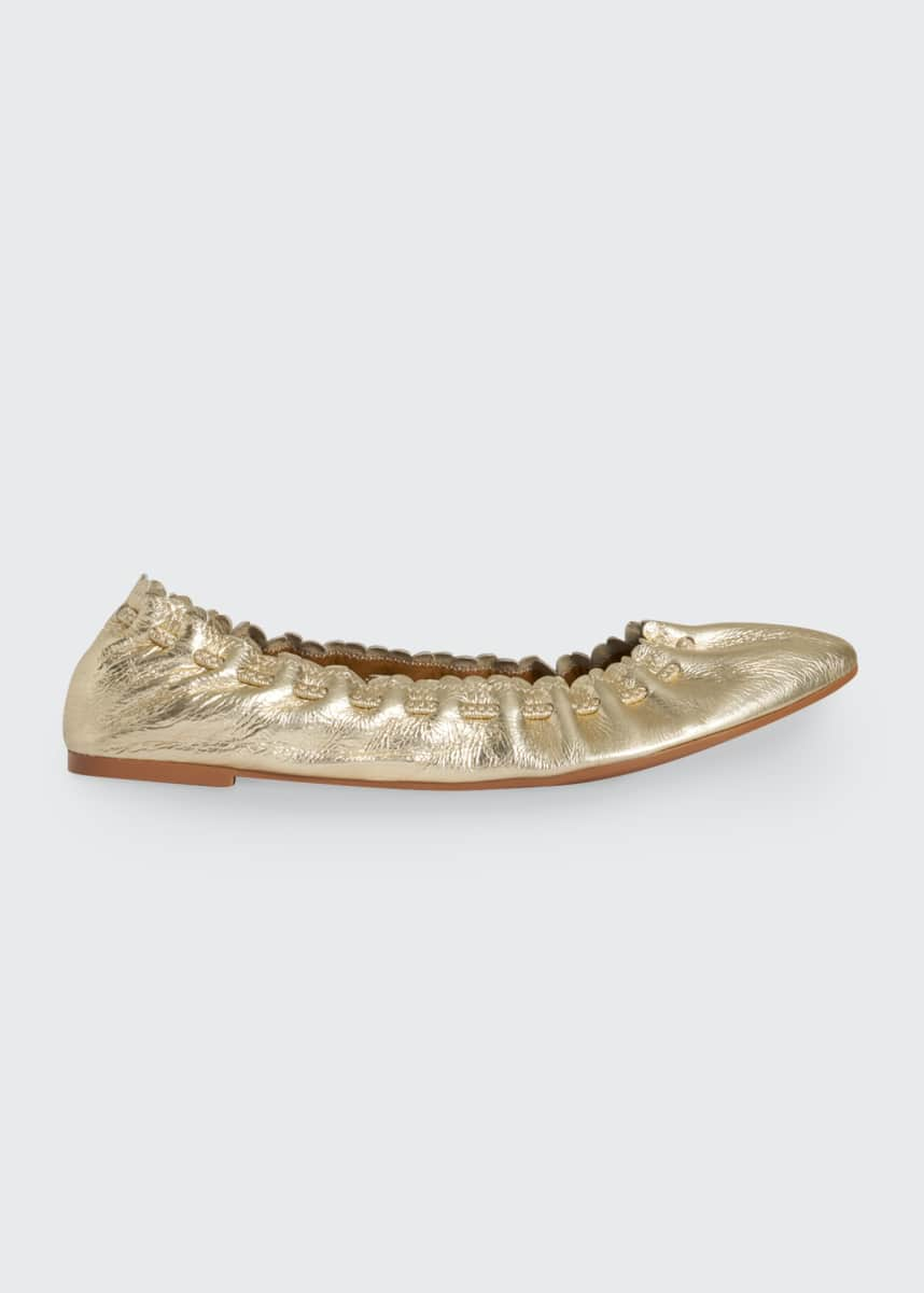 See by Chloe Jane Metallic Scalloped Ballet Fats