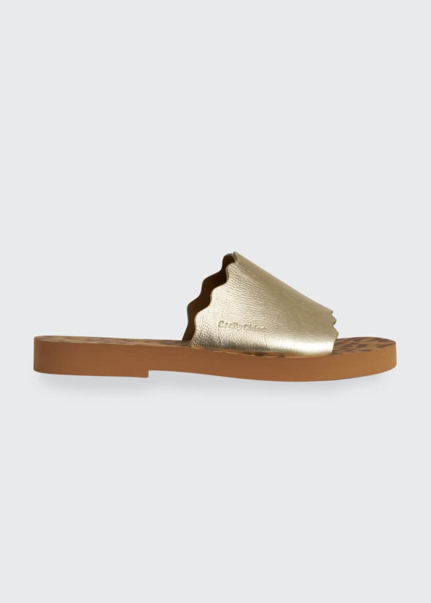See by Chloe Essie Metallic Scalloped Slide Sandals