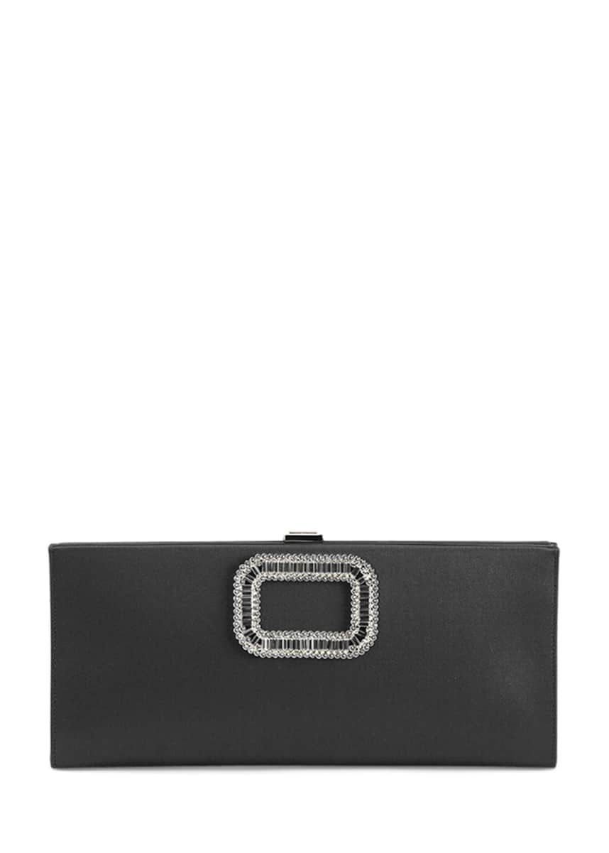 Roger Vivier Pilgrim Strass-Buckle Silk Clutch Bag, Black