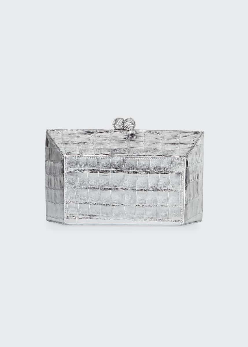 Nancy Gonzalez Geo Kiss-Lock Metallic Crocodile Minaudiere Clutch Bag