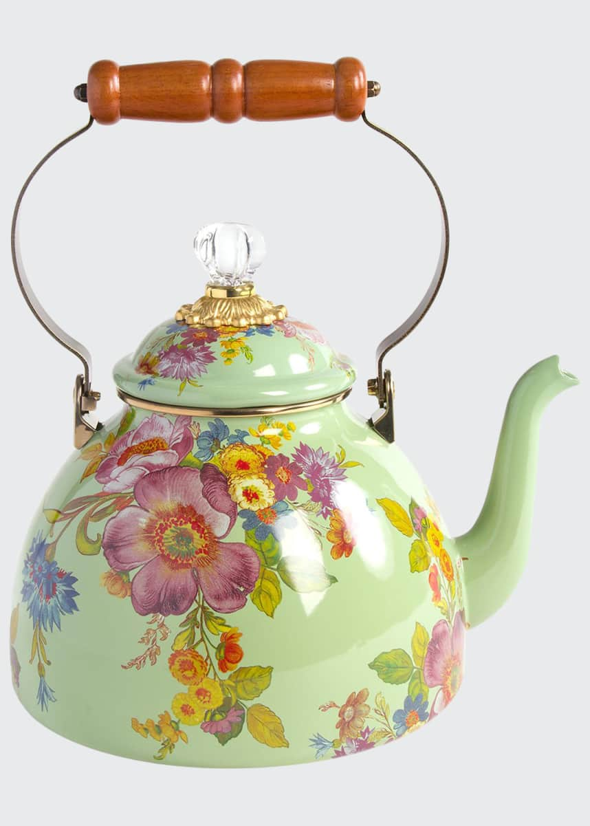 MacKenzie-Childs Flower Market 3-Qt. Tea Kettle - Green