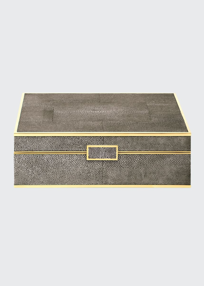 AERIN Large Chocolate Faux-Shagreen Jewelry Box