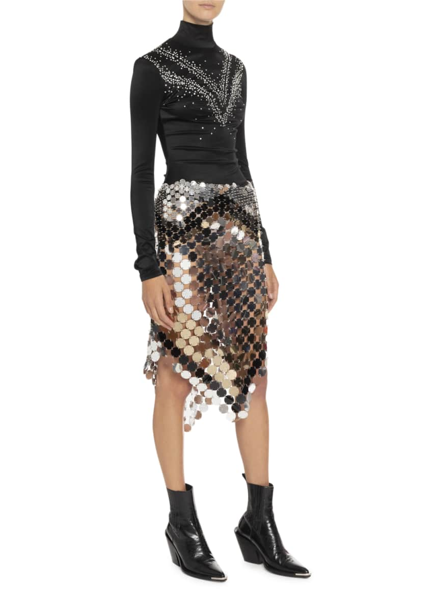 Paco Rabanne Crystal Yoke Satin Turtleneck Pointed Chainmail Skirt