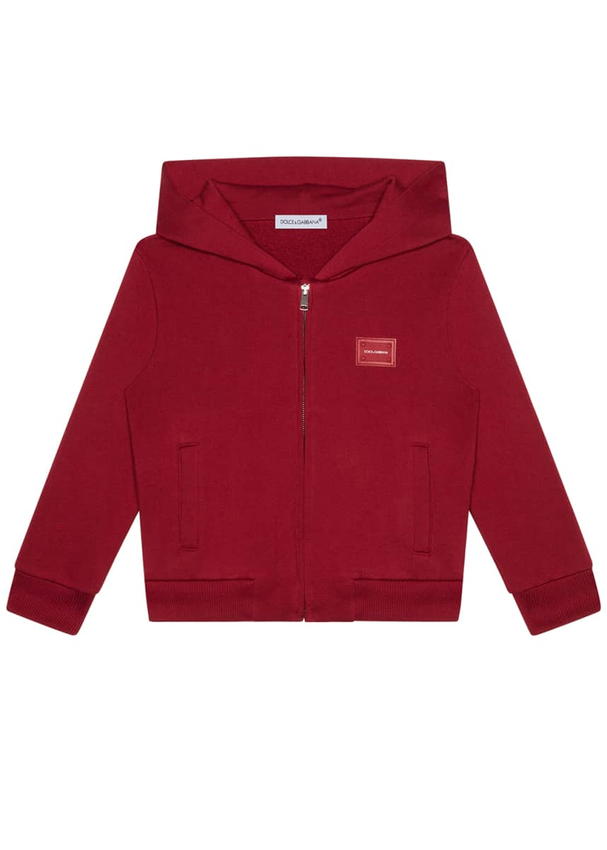 Dolce & Gabbana Boy's Logo Patch Zip-Up Hooded Jacket, Size 4-6 Boy's Logo Patch Zip-Up Hooded Jacket, Size 8-12