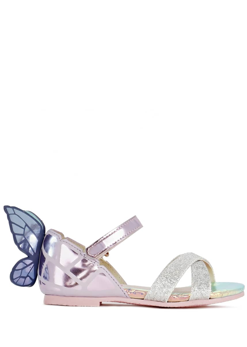 Sophia Webster Chiara Mirrored Leather Butterfly Sandals, Baby/Toddler Chiara Mirror Leather Butterfly Wing Sandals, Toddler/Kids