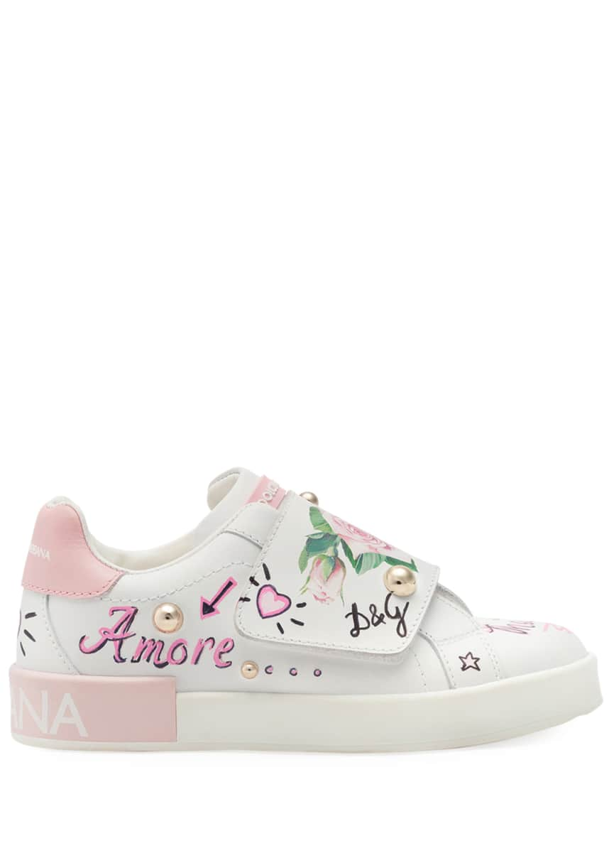 Dolce & Gabbana Floral Print Grip-Strap Leather Sneakers, Toddler/Kids Floral Print Grip-Strap Leather Sneakers, Kids