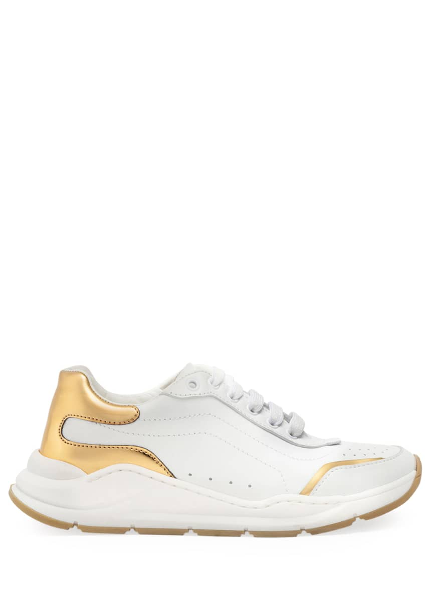 Dolce & Gabbana Day Master Gold Trim Lace-Up Leather Sneakers, Toddler/Kids Day Master Gold Trim Lace-Up Leather Sneakers, Kids