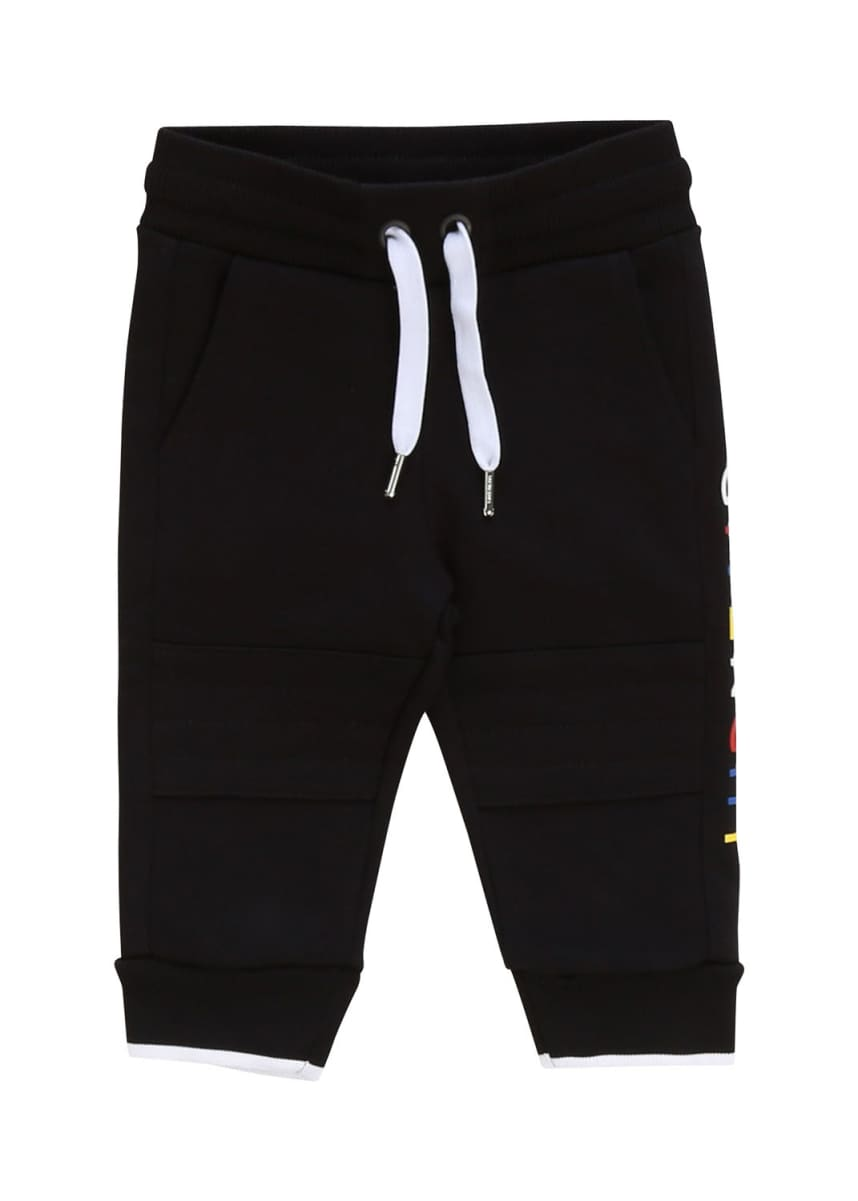 Givenchy Boy's Multicolor Logo Text Sweatpants, Size 2-3