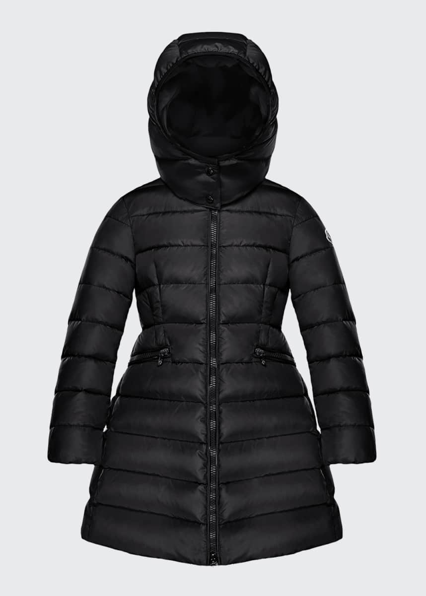 Moncler Charpal Long Puffer Coat with Detachable Hood, Size 8-14 Charpal Long Puffer Coat with Detachable Hood, Size 4-6