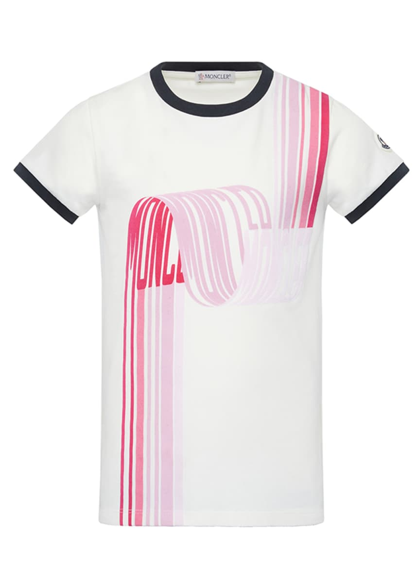 Moncler Girl's Short-Sleeve Scribbled Logo T-Shirt, Size 4-6 Girl's Short-Sleeve Scribbled Logo T-Shirt, Size 8-14